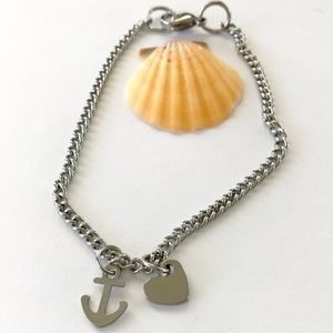 Anchor and Heart Anklet